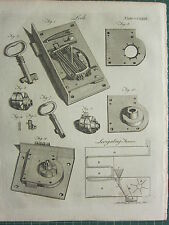 1797 ORIGINAL ANTIQUE PRINT ~ LOCK ~ MECHANISM KEY DIAGRAM EQUIPMENT