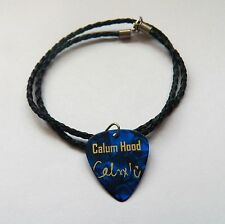 """5SOS CALUM HOOD Guitar Picks signature gold stamped 20"""" leather NECKLACE"""