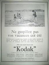 PUBLICITE DE PRESSE KODAK VEST POCKET PHOTO DE PLAGE FRENCH AD 1923