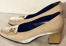 61933282c1 AMALFI Women's Size 9B/Eu 40 Square Toe Solid Beige Leather Pumps Block  Heels