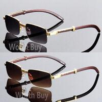 Men Women Vintage Retro Designer Sunglasses Wood Gold Half Rim Frame 80s Fashion