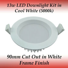 13 watt Dimmable LED Recessed Downlight Kit in Cool White Light with White Frame