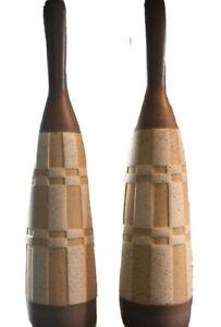 "MCM Danish Pair Tall 24-30"" TABLE LAMP BITOSSI Era Geometric Unglazed Pottery"