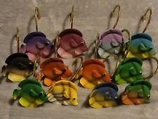 12 - Fish Shower Curtain Hooks Plastic Hooks Set of Colorful Tropical Fish Ocean