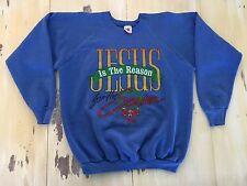 JESUS IS THE REASON FOR THE SEASON - Vtg 80s Blue Christmas Sweatshirt, Adult XL
