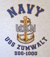 USS ZUMWALT  DDG-1000* DESTROYER* U.S NAVY W/ ANCHOR* SHIRT