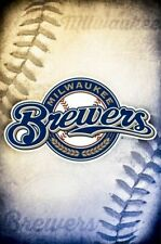 MILWAUKEE BREWERS ~ STITCHES LOGO 22x34 POSTER MLB Major League Baseball