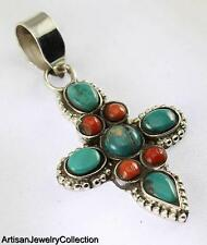 TURQUOISE CORAL PENDANT 925 STERLING SILVER ARTISAN JEWELRY COLLECTION H164