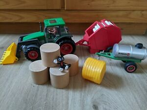 Schleich Traktor mit Tränkewagen + Bruder Ballenpresse + Rundballen .. Bauernhof