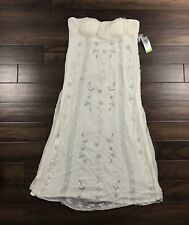 New Patra Womens Sz 14 Ivory Embellished Bead Silk Full Length Strapless Dress