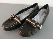 TOMMY HILFIGER WOMENS SLIP-ON LOAFER SHOES BROWN STRIPED RIBBON SILVER LOOP 8M