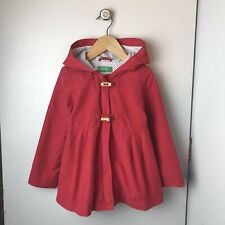 UNITED COLORS OF BENETTON Kids Girls Red Hooded Spring Jacket Sz XXS 3T 4T