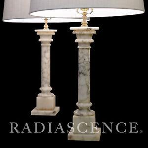 PAIR LG NEO CLASSIC MARBLE ROMAN TUSCAN COLUMNS HOLLYWOOD REGENCY MODERN lamp