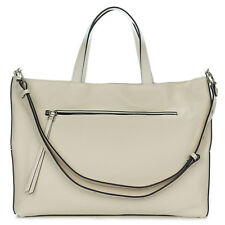 Gianni Chiarini Italian Made Beige Pebbled Leather Carryall Tote Bag with Pocket