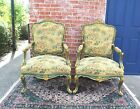 Exquisite Pair Of Louis XV  Painted Green And Gilded Arm Chairs