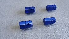 FORD FIESTA/S-MAX BLUE METAL DUST VALVE CAPS TYRE WHEEL ALUMINIUM HEXAGON COVER