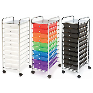 Seville Classics Storage Organizer 10 Drawer Rolling Cart Office Multi Color