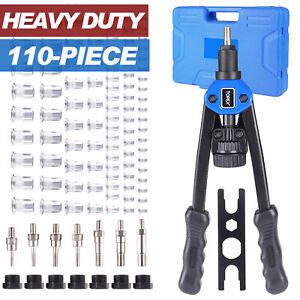 Heavy Duty Nut Rivet Riveter Rivnut Nutsert Gun Riveting Kit Thread M3-12 110PCS