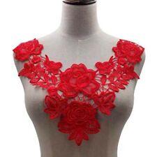 1x Lace Neckline Collar Rose Embroidery Lace Applique DIY Dress Costume Decor