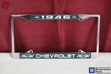 1946 Chevy Chevrolet GM Licensed Front Rear Chrome License Plate Holder Frame