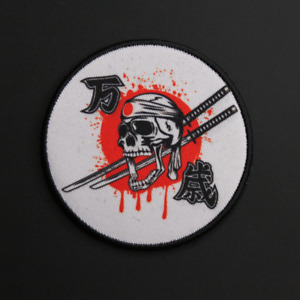 Samurai Skull Bushido Katana Swords Japan Embroidered Patch - Hook & Loop