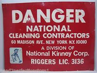 DANGER NATIONAL CLEANING CONTRACTORS KINNEY RIGGERS NY Safety Advertising Sign