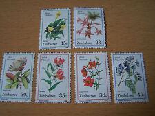 ZIMBABWE FLOWERS SET,6 VALS,U/MINT.EXCELLENT.