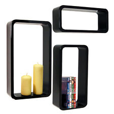 CHARLTON Support Mural Stockage/Display Tablettes ensemble de trois Noir