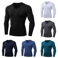 Men Long-sleeve Compression Base Layer Thermal Sports Fitness Under Skin T-Shirt