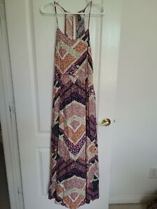 H&M Divided Maxi Dress Multicol Floral Print Boho Chic Size 10