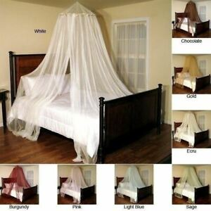 Round Hoop Bed Canopy Mosquito Netting Sheer Mesh Fabric Panel Decor MANY COLORS