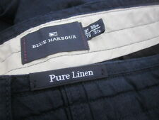 Mens M&S Blue Harbour Navy 100% Linen Trousers (W38 L31)