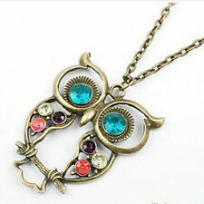 Vintage Lovely Womens Girl's Rhinestone Owl Pendant Long Chain Necklace Jewelry