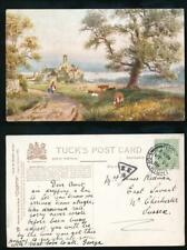 GB RAILWAY TPO 1908 SE6 TRIANGULAR from ISLE of WIGHT to CHICHESTER...TUCKS CARD