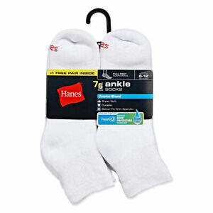 "Hanes® Men's 7-Pair Quarter  SOCKS  SHOE SIZE 6-12  ""COTTON & FreshIQ®"""
