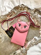 NWT KATE SPADE MEOW CAT NORTH SOUTH PHONE CROSSBODY BAG IN PINK