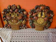 Vintage Pair 1966 Syroco Usa Dart Wall Decor 5260 A/B Flower Fruit Basket 12.5""