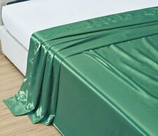 TWIN XL size, Bridal SATIN Solid Turquoise Blue Flat Bed Sheet - Super Silky