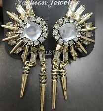 New White Crystal Gold Tone Chain Spike Statement Stud Dangle Earrings UK Shop
