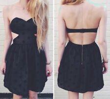 Topshop Dress Up Size 8 Backless Polka Dot Black Gold Velvet Prom Strapless Net