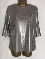 Oasis Gold/Sliver Shimmer Stretch Jersey Cold Shoulder Top Sizes XS - L  (o-2e)