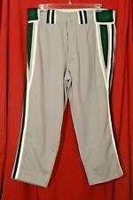 "BOOMBAH BASEBALL SOFTBALL Pants  44"" waist Short 26"" inseam Gray White Green"