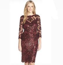 Tadashi Shoji Sequins Embellished Dress  Size 4P Burgundy Color 3/4 Sleeves