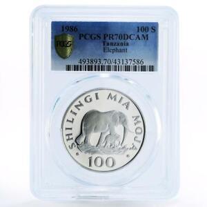 Tanzania 100 shillings Endangered Wildlife Elephant PR70 PCGS silver coin 1986