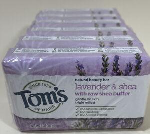 Lot of 6 Tom's of Maine Natural Beauty Bars Soap Lavender & Shea NEW bulk