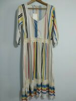 Zara Striped Blue Beige Embroidered Smock Tunic Dress Size Small Boho Festival