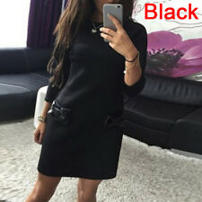Fashion Women's Sexy Loose Bowknot Pocket Long Sleeve O-neck Mini Party LJ