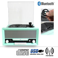 Classic Vintage Mint Green Vinyl LP Record Player Turntable Hifi Stereo System