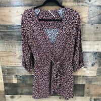 Free People Women's Black Floral Deep V-neck Tie Back Peplum Blouse Size Small
