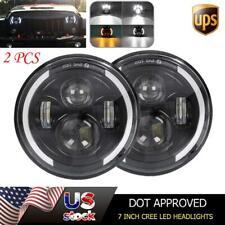 2X 7 Inch Round LED Headlights Hi/Lo Beam Turn Light for Jeep Wrangler JK LJ TJ